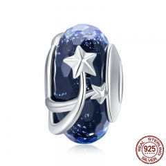 4 Styles Genuine 925 Sterling Silver Star Flower European Murano Glass Beads Fit Bracelets Bangles DIY Jewelry SCC861