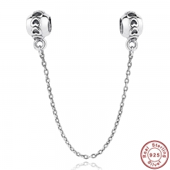 925 Sterling Silver Love Connection Safety Chain Charm Fit Bracelet Heart Shaped Sterling Silver Jewelry PAS032 CHARM-0016