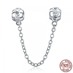 Genuine 100% 925 Sterling Silver Romantic Heart Safety Chain Charm fit Women Charm Bracelets DIY Jewelry Making SCC736 CHARM-0797