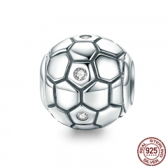 New Collection 925 Sterling Silver Sport Love Football Ball Beads fit Charm Bracelet & Necklaces DIY Jewelry SCC811