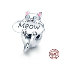 Genuine 925 Sterling Silver Naughty Cat Beads Meow Cat Animal Charm fit Charm Bracelet DIY Jewelry Making Gift SCC874