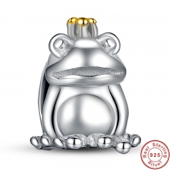 Authentic 925 Sterling Silver Frog Prince Animal Pet Charm Fit Bracelet with 14 Gold Color Crown Jewelry Making PAS007