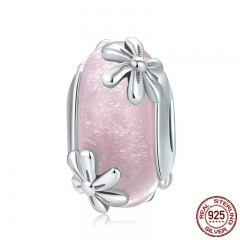 Genuine 925 Sterling Silver Spring Flowers Pink Murano Glass Beads Fit Charm Bracelets & Bangles DIY Jewelry SCC860