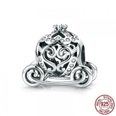 New Arrival 925 Sterling Silver Princess Pumpkin Carriage Beads fit Charm Bracelets & Bangles DIY Jewelry Making SCC792