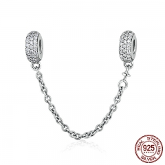 100% 925 Sterling Silver Pave Inspiration Safety Chain, Clear CZ Stopper Charms fit Charm Bracelet DIY Jewelry PSC011 CHARM-0186