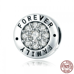 Fashion 925 Sterling Silver Forever Family Round Dazzling CZ Charm Beads fit Women Charm Bracelet DIY Jewelry SCC814