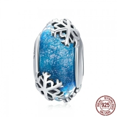 Genuine 925 Sterling Silver Winter Snowflake Blue Murano Glass Beads Fit Charm Bracelets & Bangles DIY Jewelry SCC862