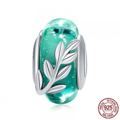 Genuine 925 Sterling Silver Tree Leaves Green Leaf Murano Glass Beads Fit Charm Bracelets & Bangles DIY Jewelry SCC863