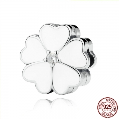 925 Sterling Silver WHITE PRIMROSE CLIP Charms for Charm Bracelet Women Beads Jewelry Making PAS288 CHARM-0098