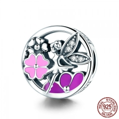 Trendy New 925 Sterling Silver Garden Flower Fairy Pink Enamel Clear CZ Beads fit Charm Bracelet Necklaces Jewelry SCC823