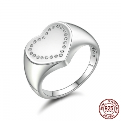 Authentic 100% 925 Sterling Silver Heart Signet, Dazzling CZ Finger Ring Women Sterling Silver Jewelry Gift Anel PA7639