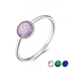 Genuine 925 Sterling Silver October Birthstone Droplet, Opalescent Pink Crystal Finger Ring Women Wedding Jewelry PA7611