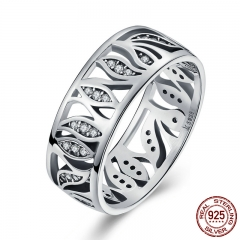 High Quality 925 Sterling Silver Flower Leaf Leaves Story ,Clear CZ Ring for Women Sterling Silver Jewelry Gift SCR068