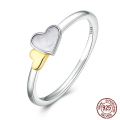 100% Genuine 925 Sterling Silver Luminous Hearts Feature Ring Women Sterling Silver Jewelry PA7615