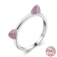 Authentic Real 100% 925 Sterling Silver Cute Cat Ears Pussy Ears,Pink CZ Ring for Women Wedding Jewelry SCR036