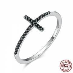 Popular 925 Sterling Silver Faith Cross Shape Finger Rings for Women ,Black Clear CZ Sterling Silver Jewelry Gift SCR067