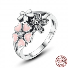 Fashion 925 Sterling Silver Pink Flower Poetic Daisy Cherry Blossom Finger Ring for Women #6 7 8 9 Size Jewelry SCR004