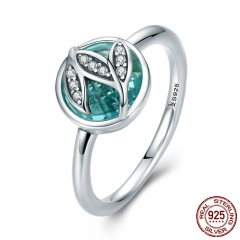 High Quality Genuine 925 Sterling Silver Tree of Life Finger Rings for Women,Green AAA Zircon Engagement Jewelry SCR105