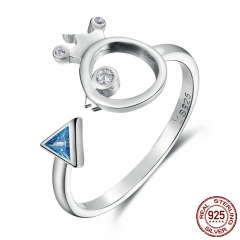 100% 925 Sterling Silver Adorable Bird Fish & Light Blue Crystal Finger Rings for Women Sterling Silver Jewelry SCR079