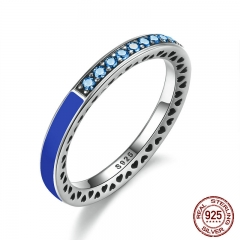 100% 925 Sterling Silver Radiant Hearts of Princess Blue Enamel & Royal Blue Crystals Women Ring Wedding Jewelry PA7621