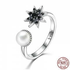 925 Sterling Silver Star in Dark Finger Ring & Black CZ Fresh Water Pearl Rings For Women Sterling Silver Jewelry SCR054