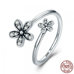 Authentic 925 Sterling Silver Dazzling Daisies, Clear CZ Open Finger Rings for Women Sterling Silver Jewelry Gift PA7629