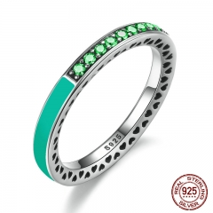 925 Sterling Silver Radiant Hearts Bright Mint Enamel & Royal Green Crystals Women Ring Engagement Jewelry PA7619