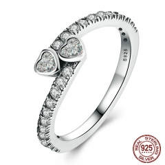 Genuine 925 Sterling Silver Forever Hearts, Clear CZ Finger Ring Women Wedding Jewelry PA7614