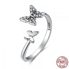 Hot Sale 925 Sterling Silver Dazzling CZ Butterfly Open Finger Ring for Women Fashion Sterling Silver Jewelry Gift SCR087