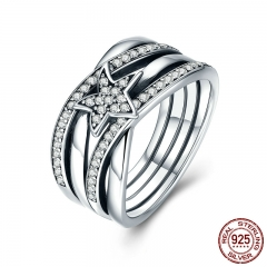 Spring Collection 925 Sterling Silver Star Twisted Statement Ring For Women Engagement S925 Silver Jewelry SCR050