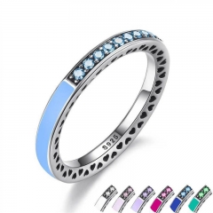 925 Sterling Engagement Silver Radiant Hearts Ring Air Blue Enamel & Sky Blue Synthetic Spinel Women Ring Jewelry PA7620