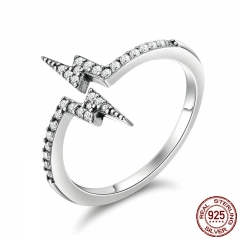 100% 925 Sterling Silver Unique Style Lightning Rings for Women, Dazzling CZ Sterling Silver Jewelry Gift Anel SCR141