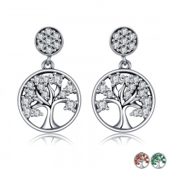 Genuine 100% 925 Sterling Silver Tree of Life ,AAA Zircon Drop Earrings for Women Sterling Silver Jewelry Brincos SCE067 EARR-0144
