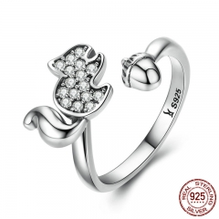 925 Sterling Silver Squirrels Nut Open Finger Ring Clear AAA Zircon Rings For Women Sterling Animal Jewelry SCR055