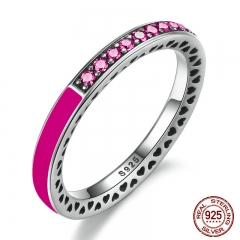 925 Sterling Silver Radiant Hearts Orchid Red Enamel & Cerise Crystals Finger Ring for Women Wedding Jewelry PA7618