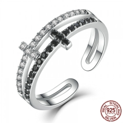 New Collection 925 Sterling Silver Double Layer Cross Symbol Finger Ring for Women Sterling Silver Jewelry SCR035