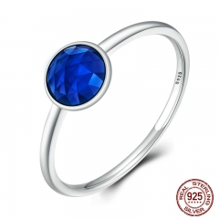 100% 925 Sterling Silver SEPTEMBER Birthstone DROPLET RING Blue Stone Finger Ring Women Wedding Jewelry PA7613