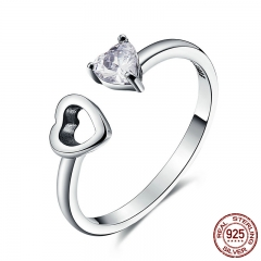 Genuine 925 Sterling Silver Heart Always Together Open Finger Ring for Women Engagement Jewelry Girlfriend Gift SCR073