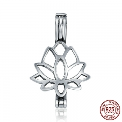 Real 100% 925 Sterling Silver Plant Pendant Elegant Lotus Flower Cage Pendant fit Women Chain Necklace jewelry SCP027