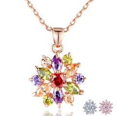 Rose Gold Color Necklaces Pendants with Multi Color AAA Cubic Zircon For Women Christmas Gift JIN029 FASH-0051