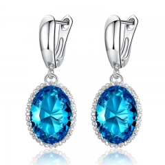 Classic Gold Color Blue Imitation Gemstone Drop Earrings with AAA Zircon Christmas Gift Jewelry YIE105