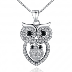 Vintage Owl Pendant Necklace with AAA Austrian Zircon White Gold Color Summer Collection Animal Jewelry YIN047 FASH-0074