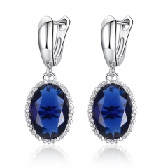 Luxury White Gold Color Drop Earrings for Women Elegant Blue Stone Female Earrings Jewelry Engagement Accessories YIE105