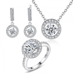 High Quality Silver Color Bridal Round Jewelry Sets for Women Wedding with High Quality AAA Zircon YIE077 FASH-0063