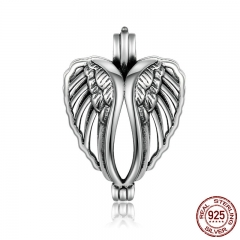 100% 925 Sterling Silver Angel Wings Feather Heart Cage Pendant Fit Chain Necklaces Women Authentic Silver Jewelry SCP013
