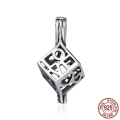 100% 925 Sterling Silver Love Letter Heart Square Memory Box Cage Pendant Women fit Women Chain Necklace jewelry SCP025