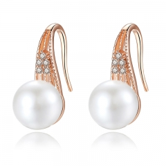 Classic Gold Color Imitation Pearl Drop Earrings with AAA Zircon Christmas Gift Jewelry JIE056