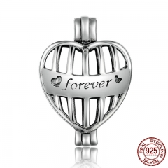 High Quality 925 Sterling Silver Forever Heart Cage Pendant Fit Chain Necklaces for Women Authentic Silver Jewelry SCP001