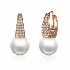 Rose Gold Color Earrings for Women with Simulated Pearls & Crystals Earrings For Women In Dangle Earrings JIE060