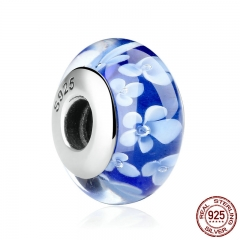 1 pcs Popular 925 Sterling Silver Blue Flower Pattern European Murano Glass Beads Charms Fit Bracelets & Bangles SCZ006